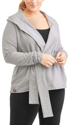 Ben Be Empowered Naturally Women's Plus Hoodie Tie Front Jacket