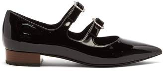 Gucci Liv crystal-buckle patent-leather flats