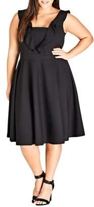 City Chic Flirty Flutter A-Line Dress