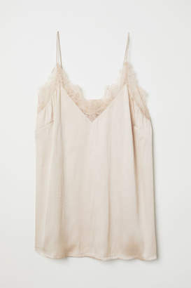 H&M Satin Camisole Top with Lace - Beige