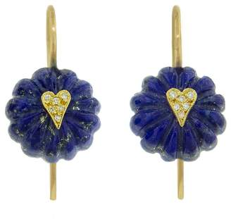 Cathy Waterman Lapis Heart Bead Earrings - Yellow Gold