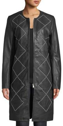 Neiman Marcus Leather Collection Studded Leather Topper Jacket