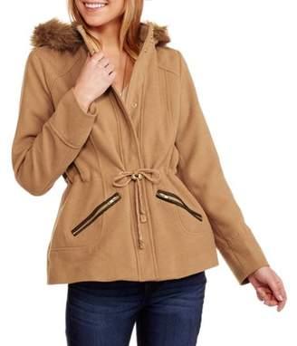 Maxwell Studio Women's Faux Wool Hooded Coat with Fur-Trimmed Hood