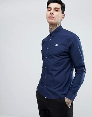 Pretty Green Slim Fit Vectis Logo Poplin Shirt In Navy