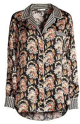 Oscar de la Renta Sleepwear Women's Floral Print Silk Sleep Shirt