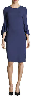 Michael Kors Cascade-Sleeve Stretch Matte Jersey Sheath Dress