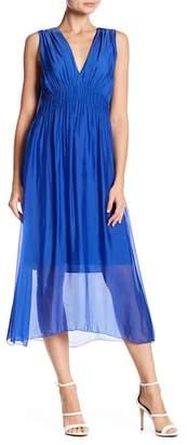 Luma Shirred Woven Midi Dress