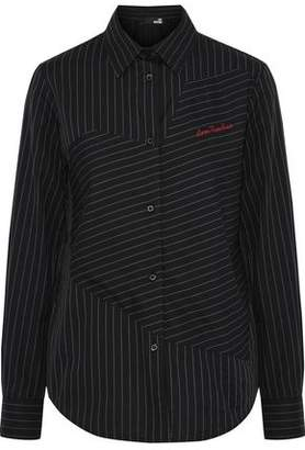 Love Moschino Embroidered Pinstriped Cotton-Twill Shirt
