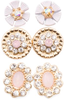 Trio Of Floral Earrings