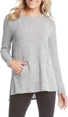 Karen Kane Side Slit Kangaroo Pocket Knit Top