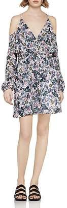 BCBGeneration Flounced Floral Cold-Shoulder Dress