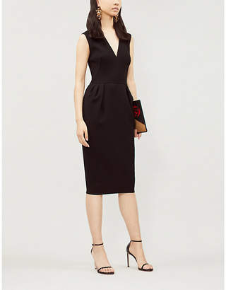 Victoria Beckham Ladies Black Ruffled Crepe Dress