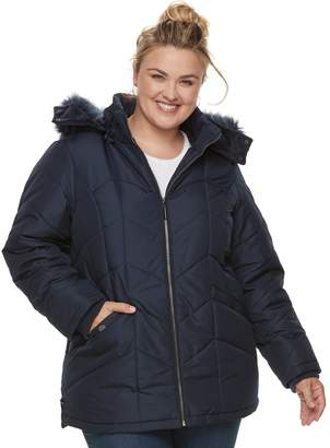 Details Plus Size Hooded Quilted Jacket