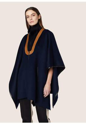Derek Lam Rib Neck Cape With Leather Detail