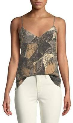 L'Agence Jane Leaf-Print Sleeveless Silk Top