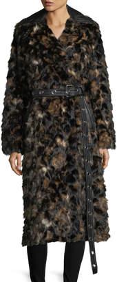 Helmut Lang Tortoise Faux-Fur Shawl-Collar Belted Coat w/ Faux-Leather Trim