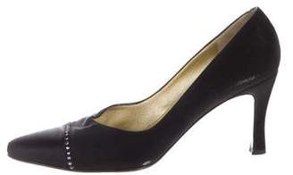 St. John Suede Pointed-Toe Pumps