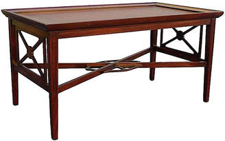 One Kings Lane Vintage Rectangular Leather-Top Coffee Table - Vintage Bella Home