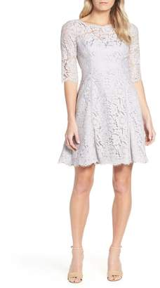 Eliza J Lace Fit & Flare Cocktail Dress (Regular & Petite)