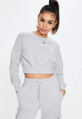 Missguided Barbie X Petite Gray Cropped Sweatshirt