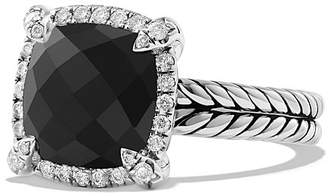David Yurman Ch'telaine Pavé Bezel Ring with Black Onyx and Diamonds