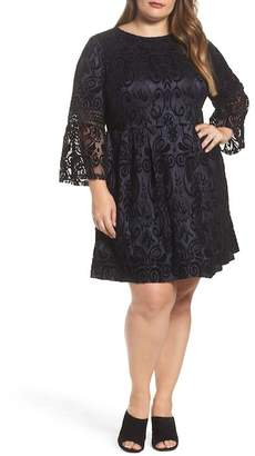 Eliza J Velvet Lace Fit & Flare Dress (Plus Size)