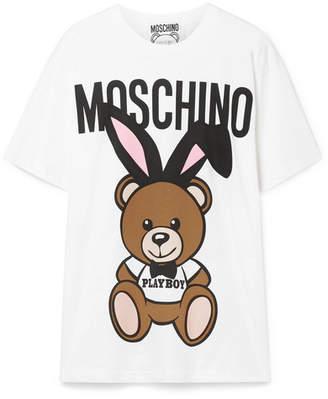 Moschino - Oversized Printed Stretch-cotton Jersey T-shirt - White