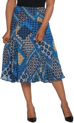 Bob Mackie Bob Mackie's Patchwork Print Pull-On Woven Midi Skirt