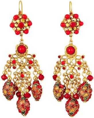 Jose & Maria Barrera Cloisonne Chandelier Earrings, Red