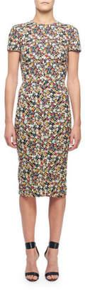 Victoria Beckham Short-Sleeve Floral-Print Midi Dress