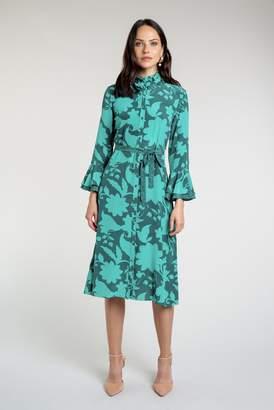 Beulah London Maia Sujan Silhouette Emerald Shirt Dress
