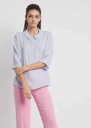 Emporio Armani Satin Crepe Blouse With Three-Quarter Sleeves