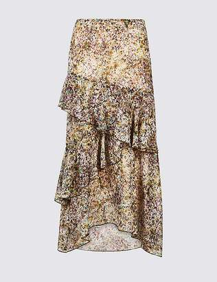 Marks and Spencer Floral Print Ruffle Midi Skirt