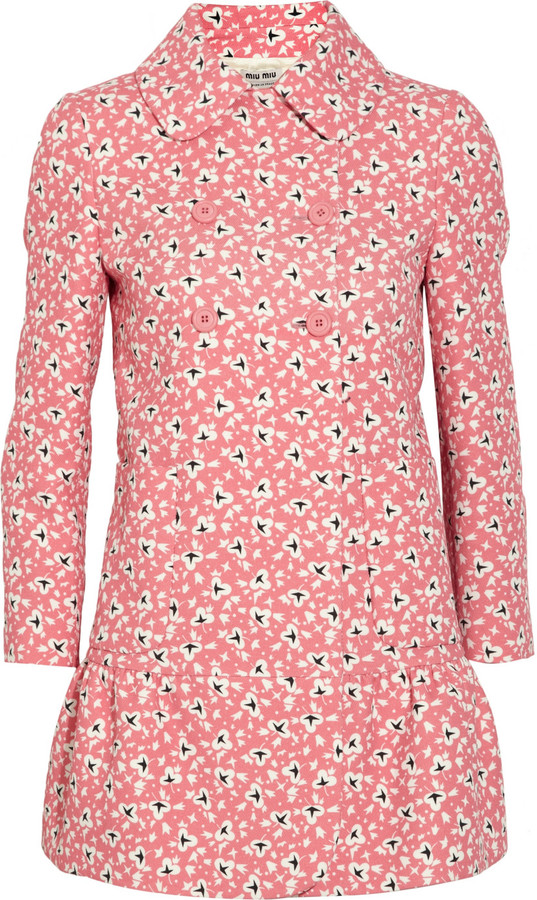 Miu Miu Printed cotton-twill coat