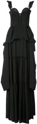 Vera Wang flared ruffle maxi dress