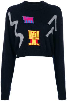 Peter Pilotto cropped abstract stitch sweater
