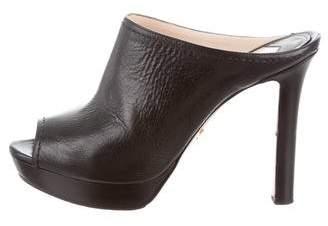 Prada Peep-Toe Platform Mules