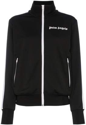 Palm Angels Striped logo embroidered satin-jersey track jacket
