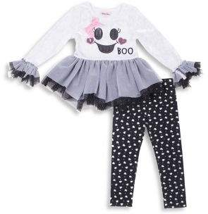 Little Lass Baby Girl's Two-Piece Ghost Crushed Velour Top & Leggings Set