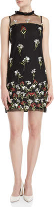Karl Lagerfeld Paris Floral Embroidered Illusion Dress