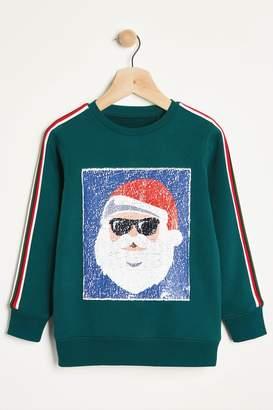 Next Boys Blue Santa Sequin Crew Neck Sweater (3-12yrs) - Green