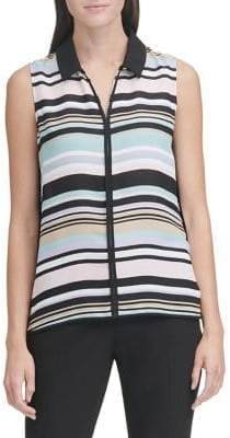 dc78ff6f031d67 Tommy Hilfiger Piped Stripe Sleeveless Blouse