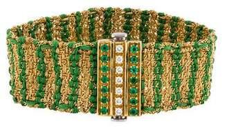 Carolina Bucci 18K Diamond & Emerald Woven Bracelet