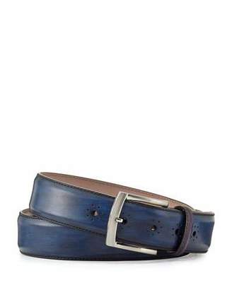 Magnanni Perforated Calf Leather Belt, Navy $175 thestylecure.com