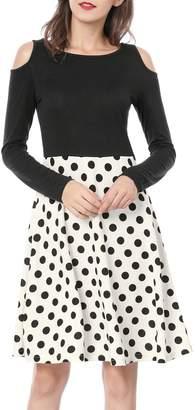 Allegra K Women's Polka Dots Color Block Cut Out Shoulder Above Knee Dress M