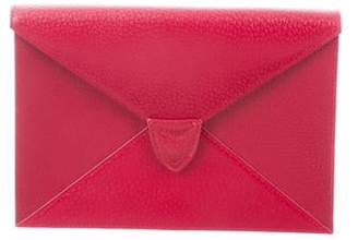 Aspinal of London Grained Leather Flap Clutch gold Grained Leather Flap Clutch