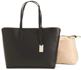 Made In Italy Large Rivet Leather Tote