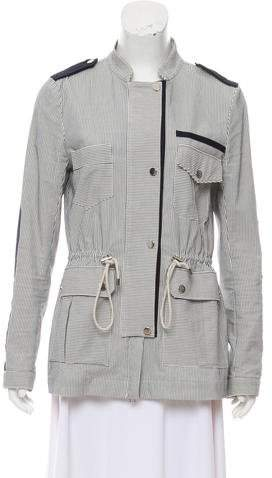 Band-Collar Drawstring Accented Jacket