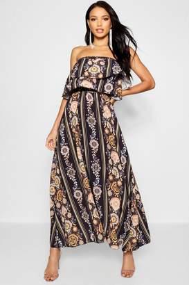 boohoo Bohemian Print Ruffle Bandeau Maxi Dress