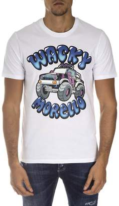 Frankie Morello White Cotton T-shirt With Contrasting Print
